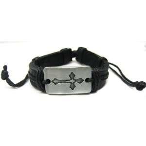 Metal Cross Black Leather Bracelet Costume Accessory Toys