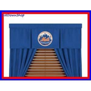 York Mets Mvp Window Valance & 63in Drapes/Curtains