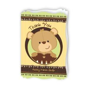 Baby Teddy Bear   Personalized Baby Thank You Cards With