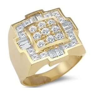 14k Yellow Gold Mens Huge Large Square CZ Cubic Zirconia Ring Jewelry