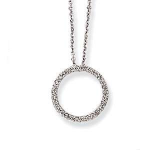 Gold Link Chain with Diamond Circle Pendant Necklace  18 IN (0.25ctw