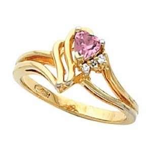 14K Yellow Gold Heart Shaped Pink Tourmaline and Diamond Ring Jewelry