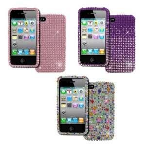 EMPIRE Apple iPhone 4 / 4S 3 Pack of Full Diamond Bling