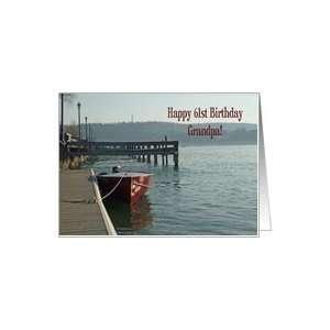 Fishing Boat Grandpa 61st Birthday Card Card