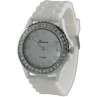 Geneva Platinum Womens 6886.White.Silver White Rubber Quartz Watch