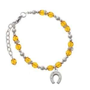 Horseshoe Yellow Czech Glass Beaded Charm Bracelet [Jewelry] Jewelry