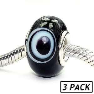 Coastal Collection Silver Glass Beads (3 Pack)   Space Cadet (Pandora