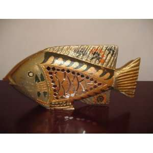18 Gold Tone Mirror Mosaic Fish Figurine