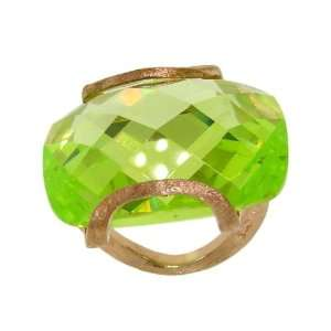 Sterling Silver Lime Green CZ and Rose Gold Plated Ring, 6 Jewelry