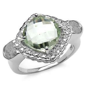 3.60 Carat Genuine Green Amethyst Sterling Silver Ring Jewelry