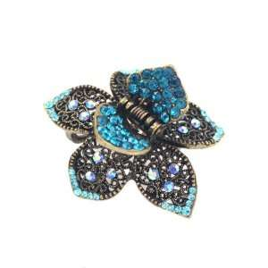 Antique Brass Rhinestone Small Floral Hair Claw Blue Beauty