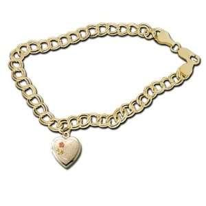 14k Yellow Gold Heart shaped I Love You Locket Bracelet Jewelry