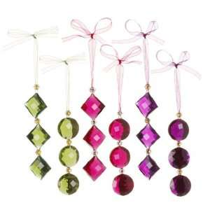 Green Crystal look Dangle Christmas Ornaments Set of 6