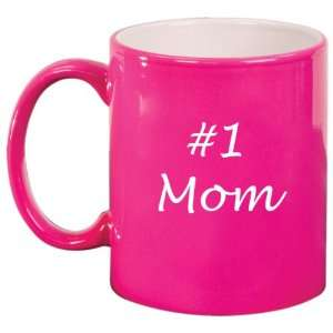 #1 Mom Ceramic Coffee Tea Mug Cup Hot Pink Gift for Mom