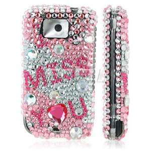 PINK I MISS YOU 3D CRYSTAL BLING CASE FOR HTC TOUCH2 Electronics