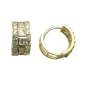Brilliant Textured CZ 14K Yellow Gold Huggie Earrings Jewelry
