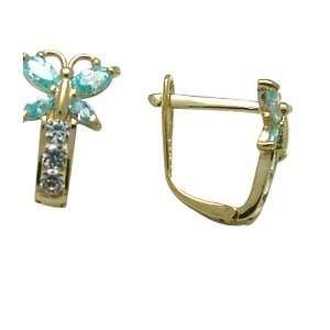 Aqua   Birthstone Butterfly 14k Yellow Gold Huggie Earrings Jewelry