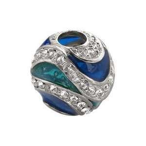 Bacio Italian Swarovski Crystal and Glass Bead Cathedral Blue Saturn
