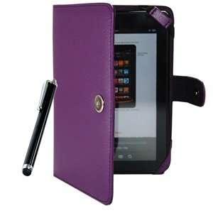 Purple Color Kindle Fire 3G WiFi PU Leather Case/Cover + Black Color