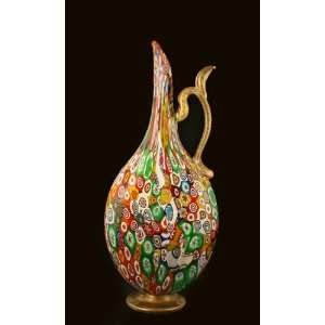 Italian Art Glass Millefiori Mille Fiore Large Pitcher Carafe Vase