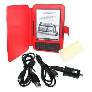 Cover PU Leather Case Travel Kit compatible with Kindle 3 (Keyboard