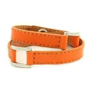 Poshlocket   Tamara Leather Wrap Bracelet in Orange Jewelry