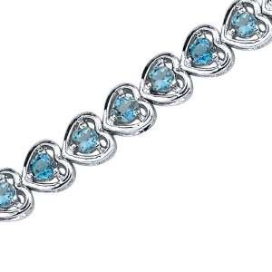 London Blue Topaz Gemstone Bracelet in Sterling Silver Rhodium Finish