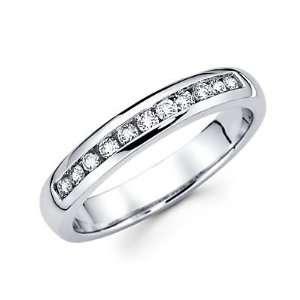 Size  12   14k White Gold Mens Round Diamond Wedding Ring Band .40 ct