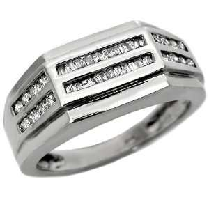Mens .70ct Round Baguette Diamond Wedding Ring Band 14k White Gold (10
