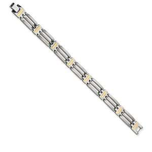 Mens Triple Row Titanium 24k Gold Plated Link Bracelet Jewelry