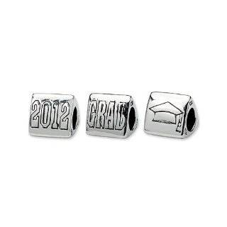 Silver European Style Antique Silver Owl Graduation Charms/beads