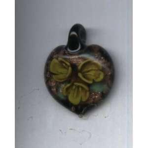 Murano Glass Lampwork Pendant  Heart with 3D Yellow Flower Design