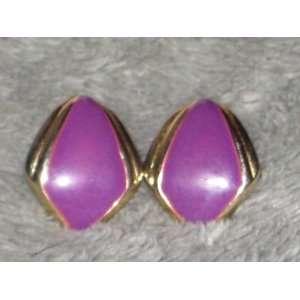 Gold Tone & Purple Enamel 1 Inch Pierced Earrings