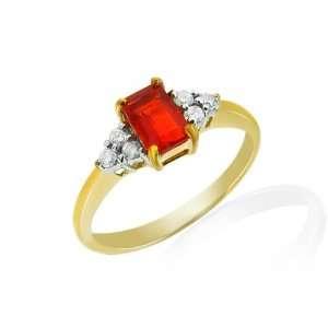 9ct Yellow Gold Fire Opal & Diamond Ring Size 5 Jewelry
