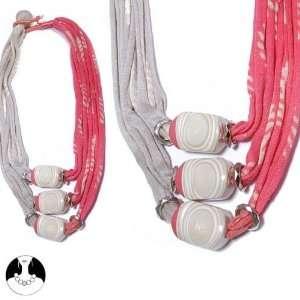 necklace necklace 3 rows 72 cm silver multi coral orange comb fabrics