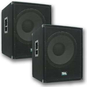 Pair of Powered PA 18 Subwoofer Speaker Cabinets Musical Instruments