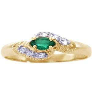 Yellow Gold Diamond Clustered Marquis Promise Ring Emerald, size7.5