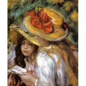 Oil Painting Two Young Girls Reading Pierre Auguste Renoir Hand Pain