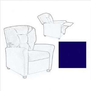 Button True Blue Cotton Fabric Kids Recliner Chair Furniture & Decor