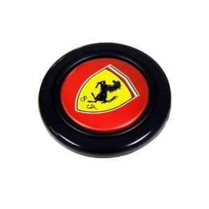 Black Horse on Yellow Shield Crest Logo Hood Badge and Red Background