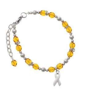 White Ribbon Yellow Czech Glass Beaded Charm Bracelet