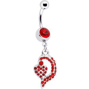 Red Gem Dynamic Heart Belly Ring Jewelry