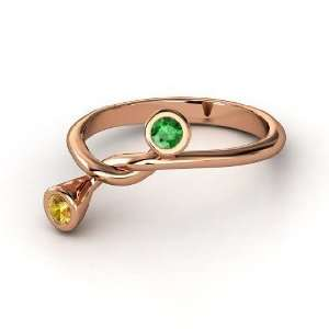 String Ring, 14K Rose Gold Ring with Emerald & Citrine Jewelry
