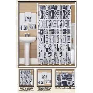 MAZE FABRIC SHOWER CURTAIN, 12 RESIN SHOWER HOOKS, VINYL SHOWER LINER