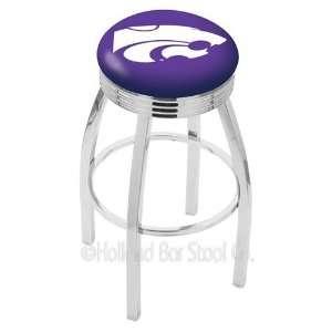 Kansas State Wildcats Logo Chrome Swivel Bar Stool Base with Ribbed