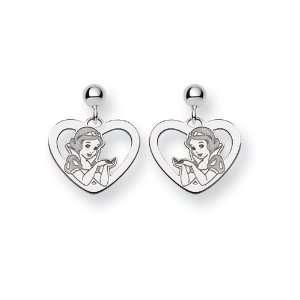 Sterling Silver Disney Snow White Heart Earrings Jewelry