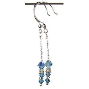 Earrings March Aquamarine Swarovski Crystal Elements are 1 1/2 Inches