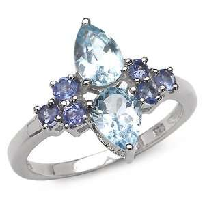 10 Carat Genuine Blue Topaz & Tanzanite Sterling Silver Ring Jewelry