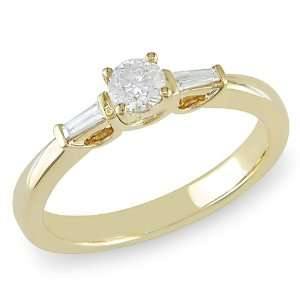 10K Yellow Gold 1/3 CT TDW Round and Tapers Diamond Engagement Ring (G