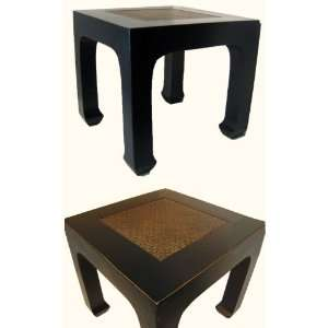 Antique black lacquered Oriental end table has a rattan